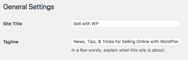 WordPress general settings