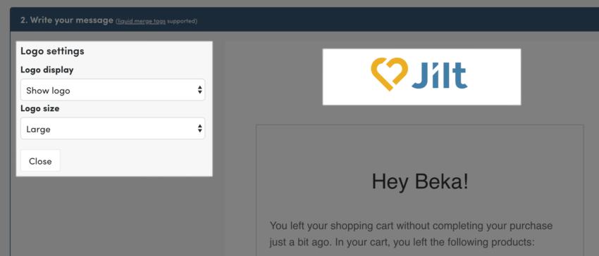 Jilt app: logo block