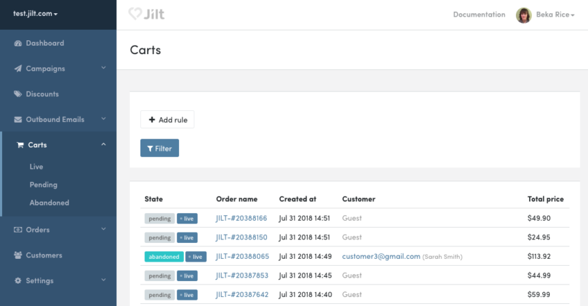 Jilt carts list