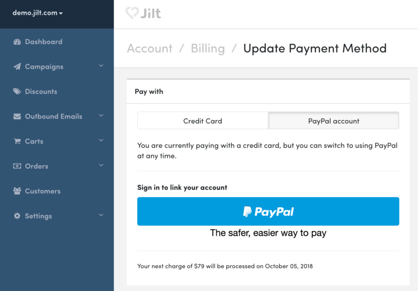 Jilt: Pay with PayPal
