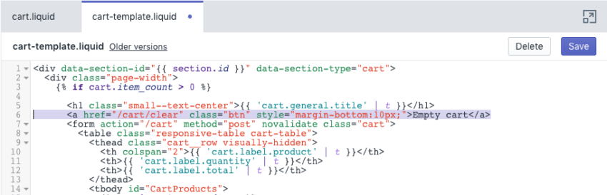 Shopify: add empty cart button 1