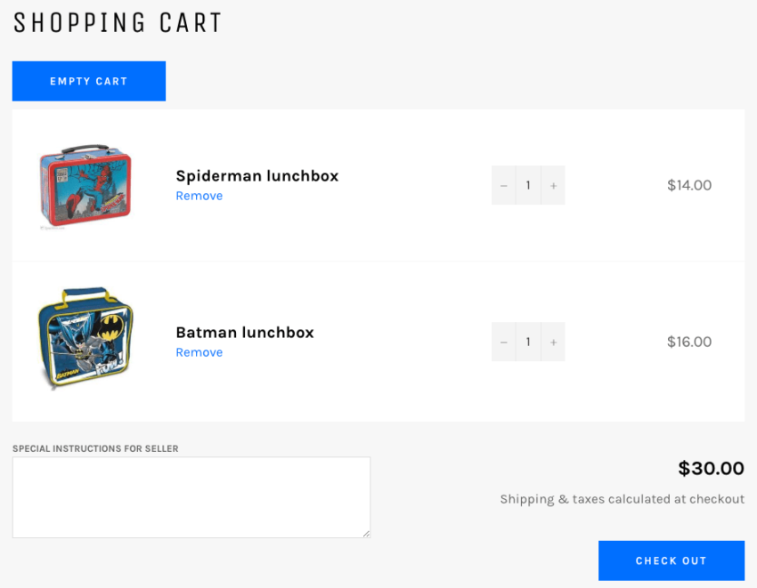 Shopify add empty cart button output