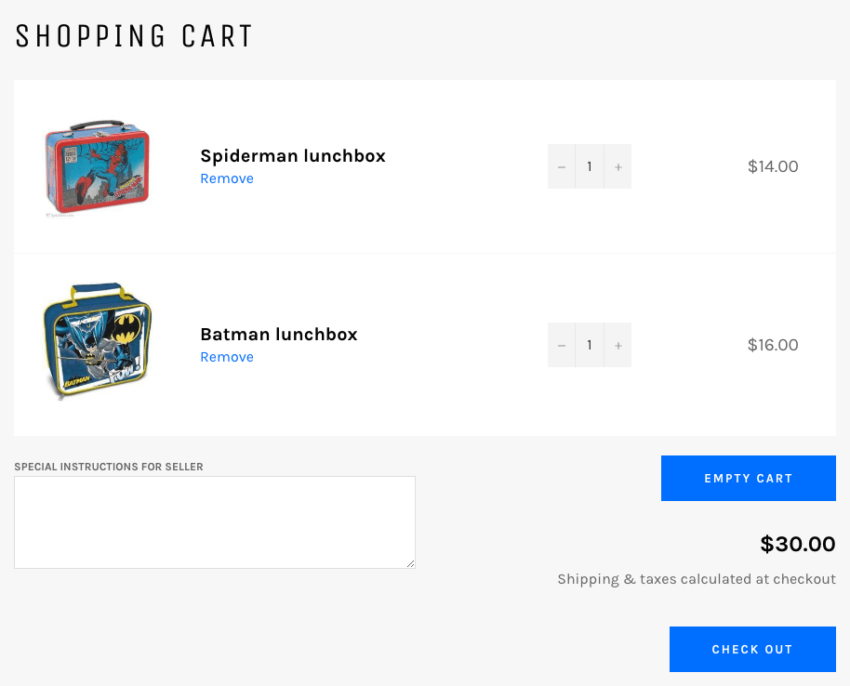 Shopify add empty cart button output 2