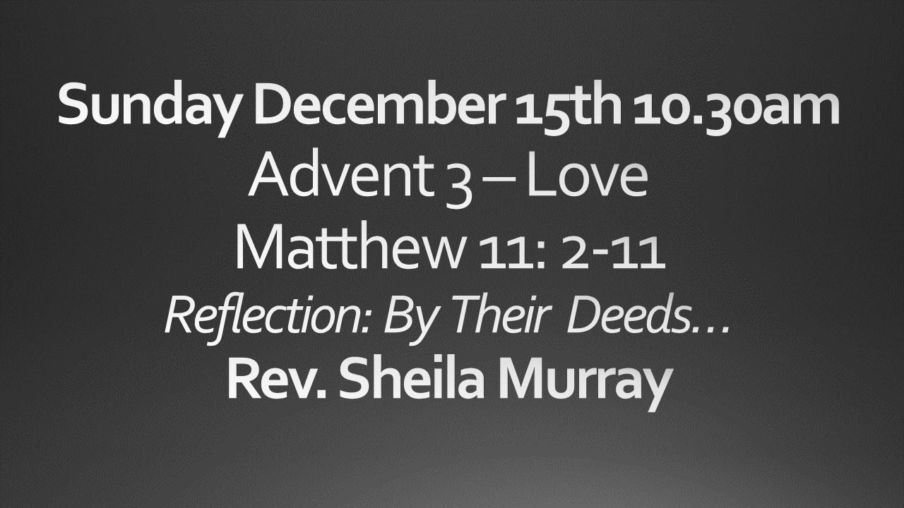 Sunday December 15 10:30 am worship