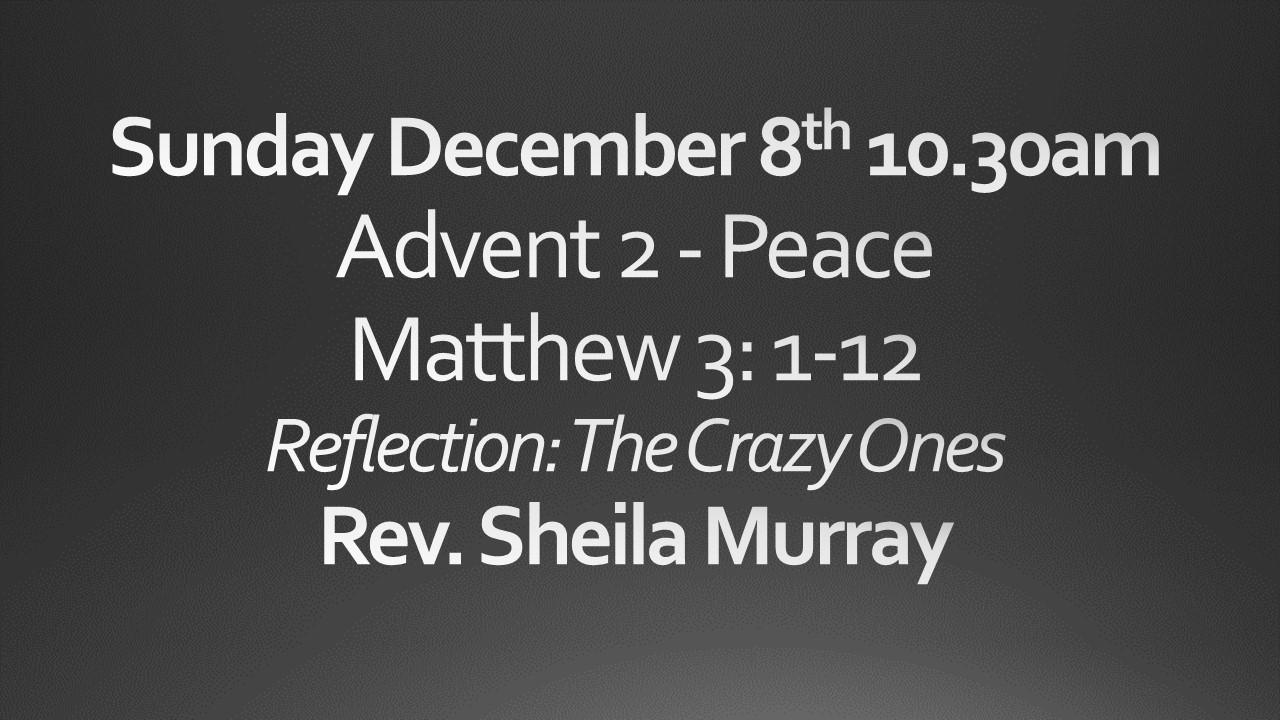 Sunday December 8 10:30 am worship