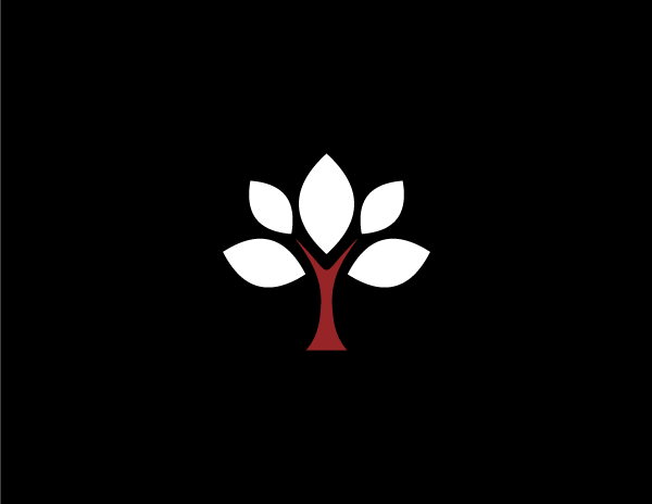 white and red tree symbolizing growth on black background