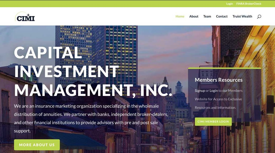 Financial Services Website: Capital Investment Management