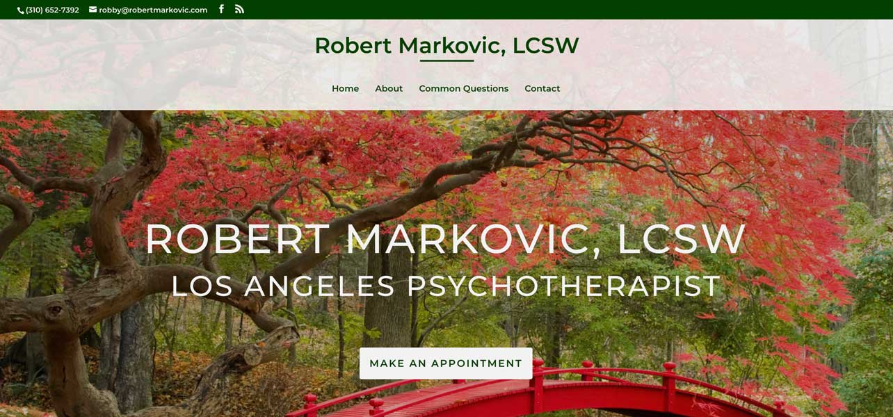 Therapy Website Robert Markovic LCSW Website Homepage