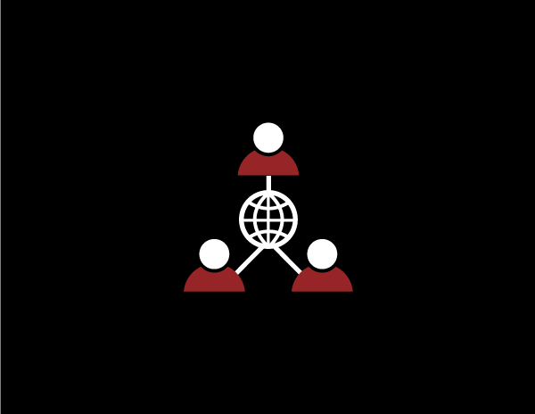 Network of people in white and red colors on a black background