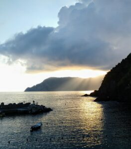 """God light"" over the Cinque Terre"