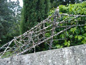 Gum-encrusted railing