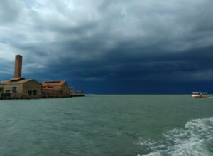 Venetian lagoon with storm clouds