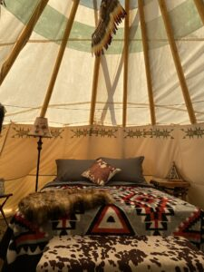 Luxury Queen Bed at lost Indian Camp
