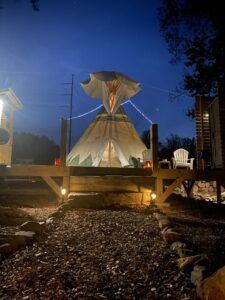 Tipi night glamping at lost indian camp