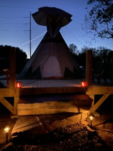 light glowing at Lost Indian Camp