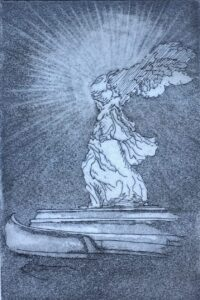 """""""Take that b#%$&s!"""" - Etching and aquatint on paper. 4""""x6"""" image. Fits 8""""x11"""" frame"""