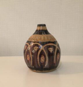 """Protective circle"" - 4"" glazed stoneware vase. Collaboration with JC."