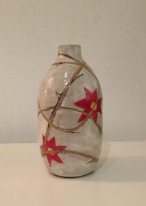 """Pain"" - 6"" glazed stoneware vase. Collaboration with JC."