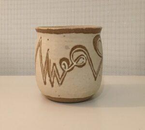 """Timeline"" - 4"" glazed stoneware beaker. Collaboration with JC."