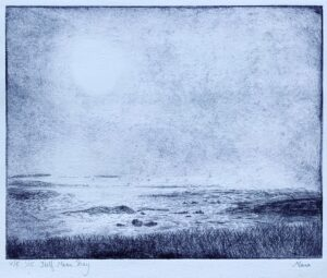 """""""Half Moon Bay """" - Etching on paper. 12""""x9"""" image. Fits 15""""x11"""" frame."""