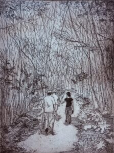 """""""Dordogne"""" - Etching on paper. 9""""x12"""" image. Fits 11""""x15"""" frame"""
