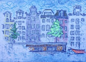 """""""Princengracht"""" - Soft ground etching on paper, gel pen, color pencil. 6""""x4"""" image. Fits 11""""x8"""" frame"""