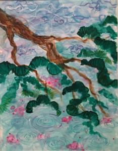 """Japanese garden"" - Acrylic on paper. 11""x14"""