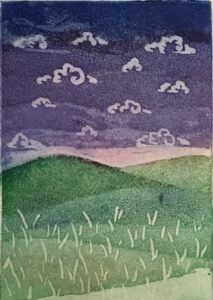 """""""The simple life"""" - Aquatint on paper. 3""""x4"""" image"""