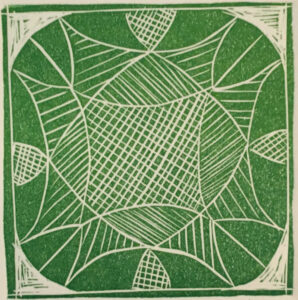 """Princess Cut"" - Linocut on paper. 4""x4"" image"