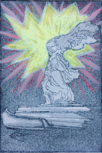 """""""Take that b#%$&s!!!"""" - Etching and aquatint on paper with acrylic. 4""""x6"""" image. Fits 8""""x11"""" frame"""