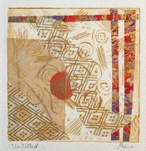 """""""Untitled"""" - Etching with chine collé. 6""""x6"""" image"""