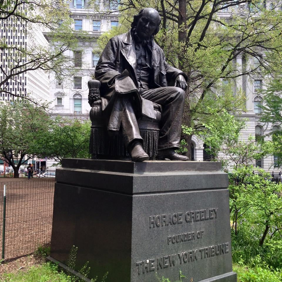 Statue of New York Tribune publisher Horace Greeley in City Hall Park