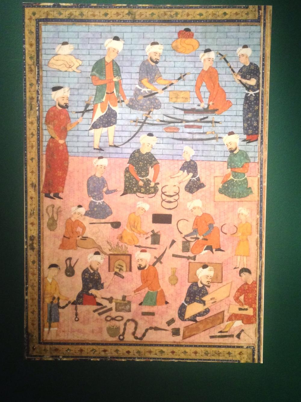 16th-century tapestry illustrating an Iranian arms workshop