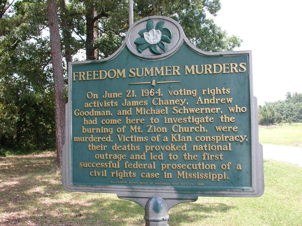 Historic marker of the murder location, at a small rural road called Rock Cut Road