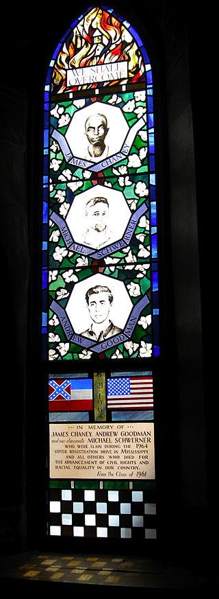 Stain glass window at Sage Chapel at Cornell University, Schwerner's Alma Mater
