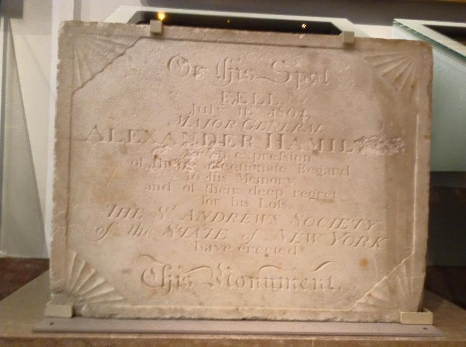 Plaque placed at the site of the duel in Weehawken in 1805 by the St Andrew's Society