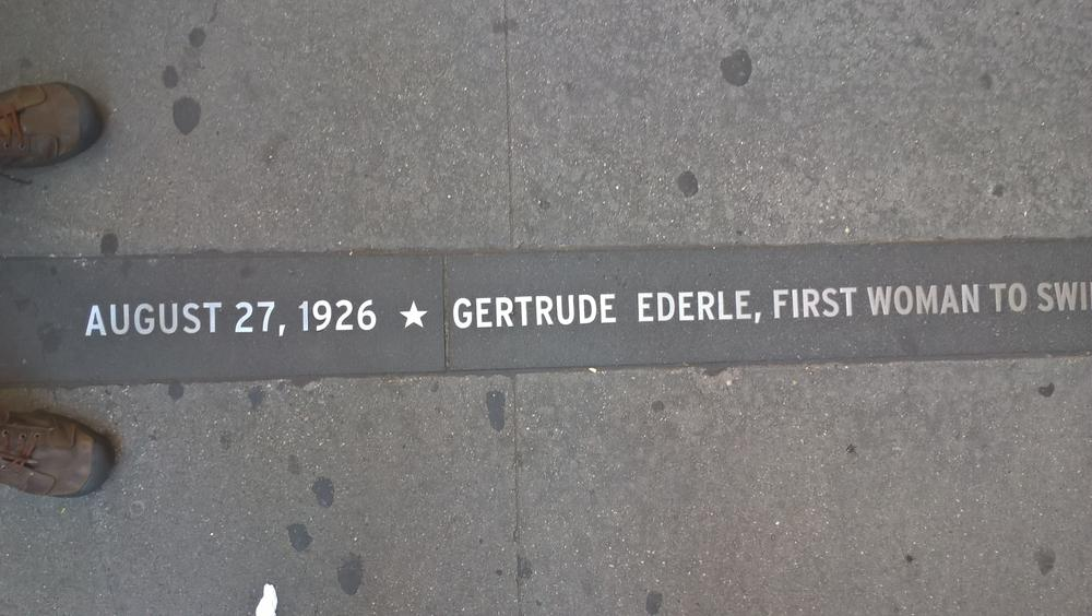 Ederle's name on the Canyon of Heroes on Broadway in the Financial District