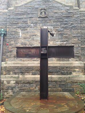 A cross made from debris of the Twin Towers at the Church of the Good Shepard in Inwood, Manhattan