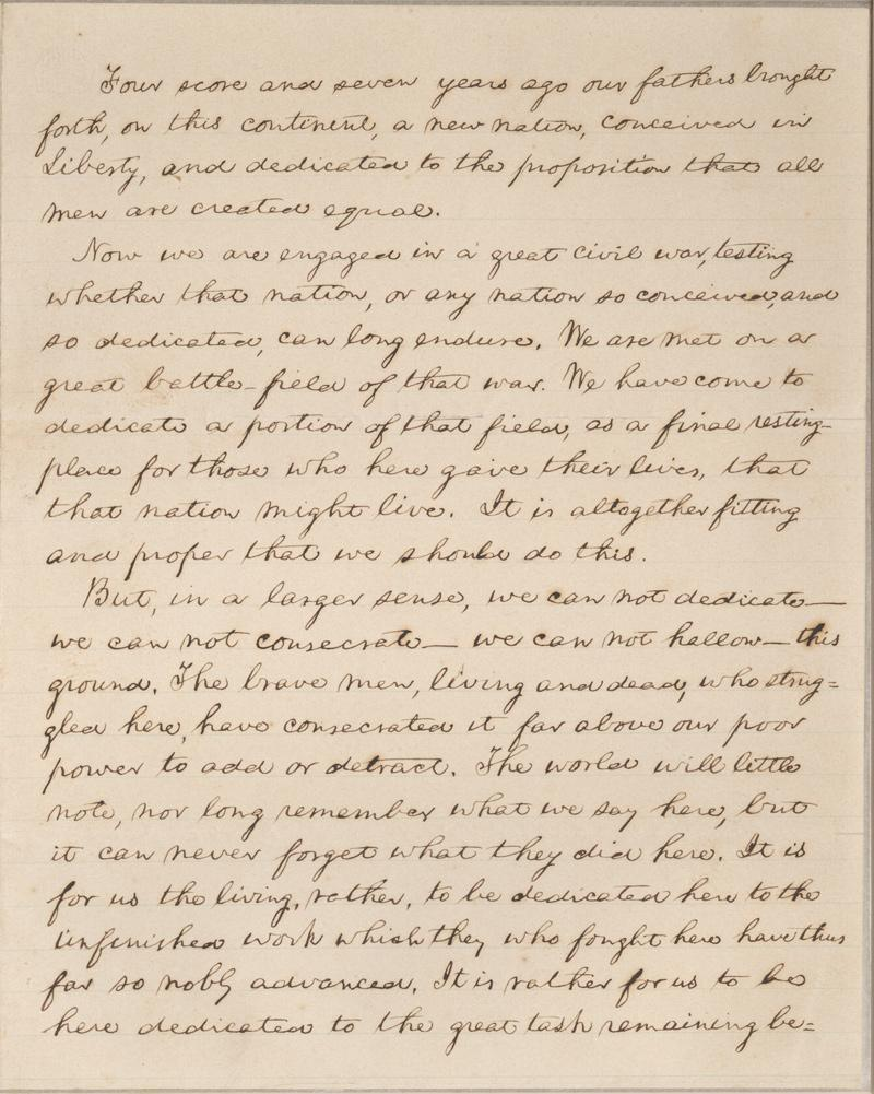 The Bancroft copy of the Gettysburg Address kept in the Carl A. Kroch Library at Cornell University.