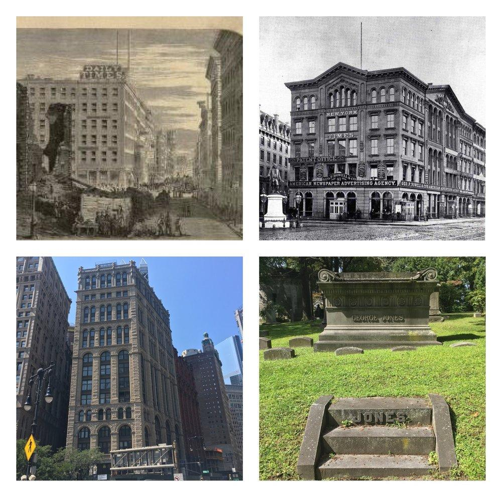 Clockwise from top left: 138 Nassau Street--the second office of the New York Times (1854-58), illustration from