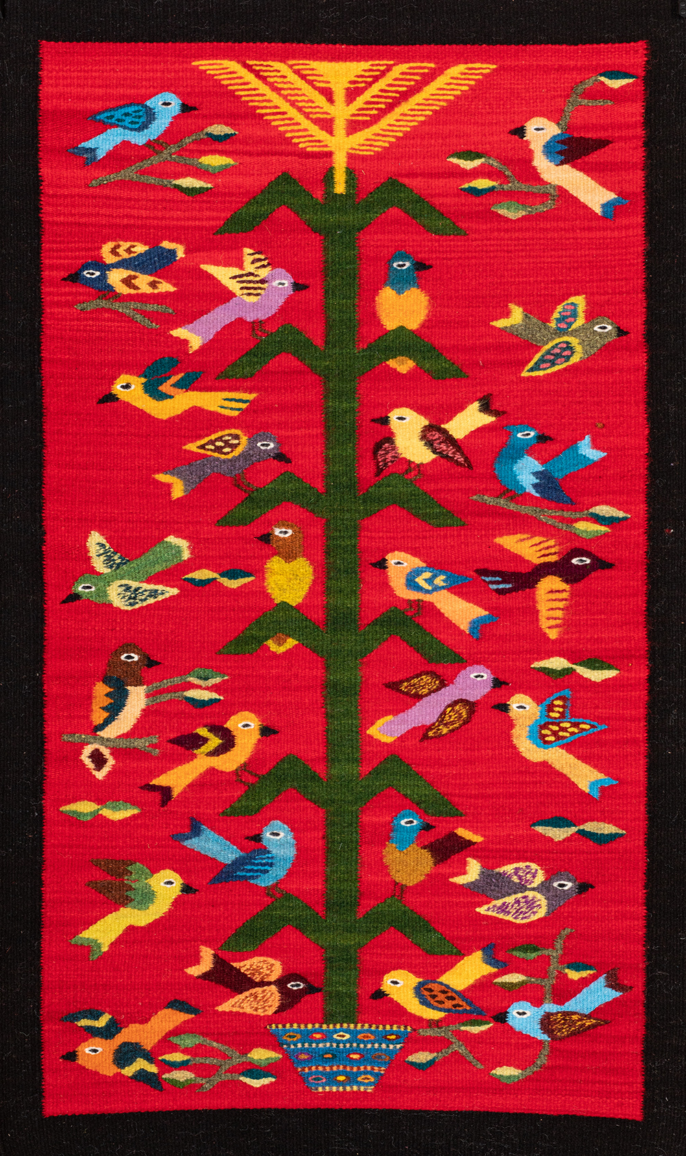 Cornhusk Tree of Life Red with Border
