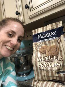 Lindsay Deibler is holding a bag of Murray's Ginger Snaps