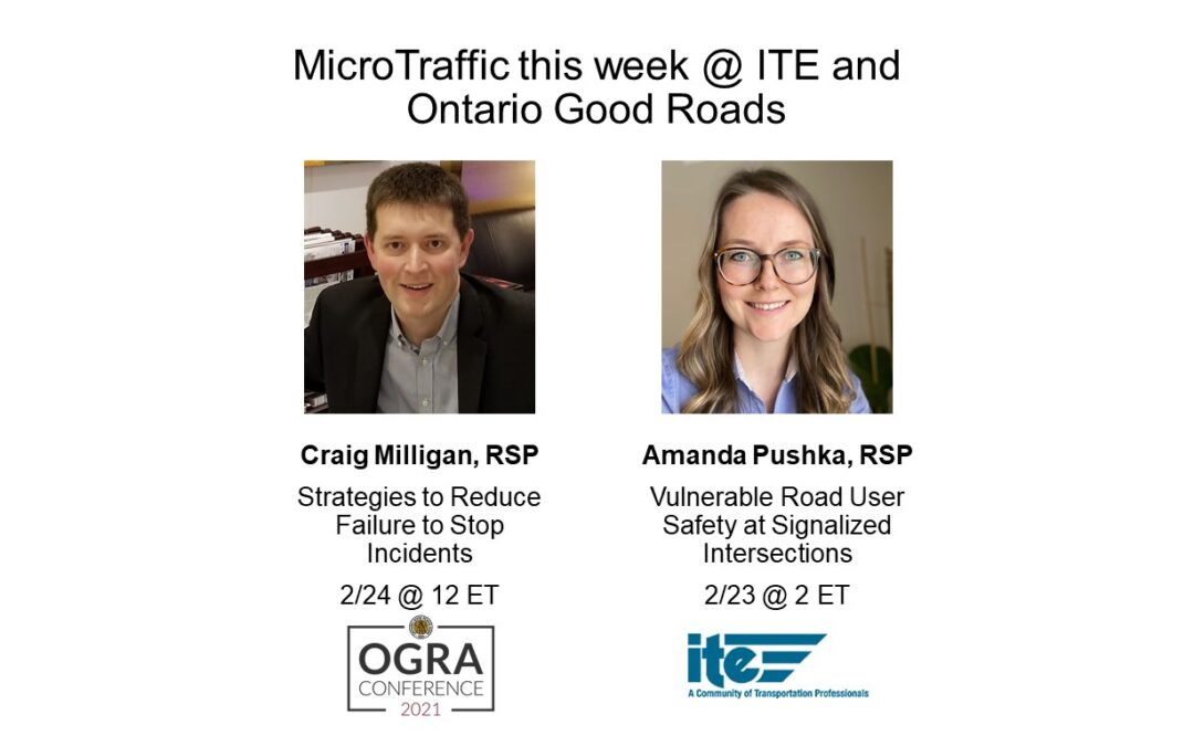 Webinars this week: VRU @ Signalized Intersections; Preventing Failure to Stop Crashes
