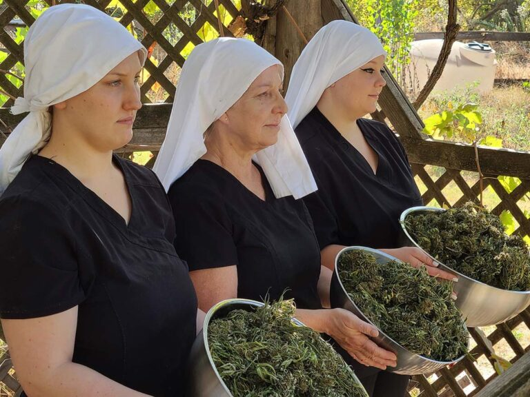 sisters hold cannabis plant