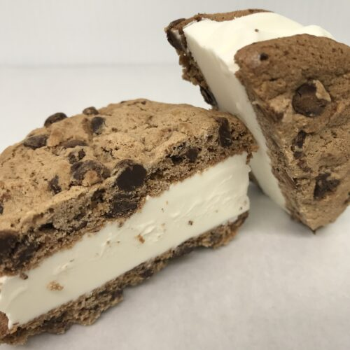 Two Chocolate Chip Cookies With Vanilla Ice Cream