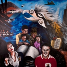 The Children of Quetzalcoátl 1, HEDGES FINE AND PERFORMING ARTS SCHOOL, BACK OF THE YARDS NEIGHBORHOOD,  SOUTH WALL OF STUDENT CAFETERIA, DOCTORAL DISSERTATION BY ARTHUR POLENDO