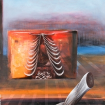 My body will not give blood any more, 2012, OIL PAINT, AND AEROSOL ON CANVAS, 48 x 36 INCHES