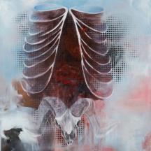 I am a ram, 2012, OIL AND AEROSOL ON CANVAS, 48 x 36 INCHES