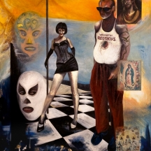 Border Vato, 2010, OIL AND COLLAGE ON CANVAS, 60 x 48 INCHES