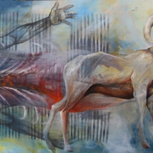 I am a Ram 2, 2013, OIL AND AEROSOL ON CANVAS, 50 x 70 INCHES